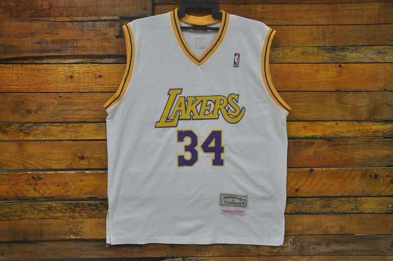 quite nice d5770 4c020 Rare Vintage Los Angeles Lakers Shaquille O'Neal Mitchell & Ness Hardwood  Classic Jersey,Vintage L.A Lakers O'Neal 34 Jersey,Hip Hop,Rap