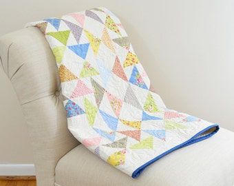 Pastel Flying Geese Triangles Wall Hanging Quilt