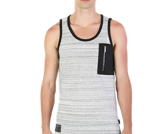 324c0ee56d78af ZIMEGO Men s Hiphop Zipper Pocket Tank Top