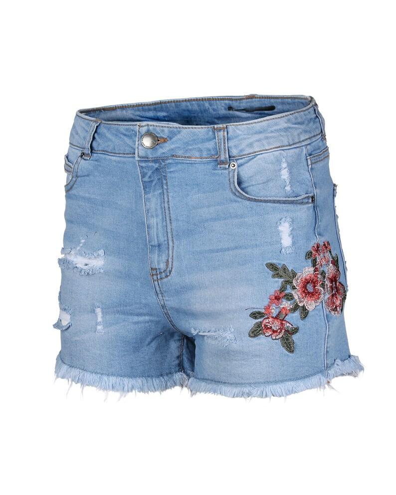 Dream Supply Women\u2019s Juniors Classic Mid Rise Distressed Denim Shorts