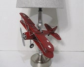 Biplane Lamp Nursery Travel Airplane Lamp shade Aviation Silver Vintage Stars Red plane flight Airport Wings Pilot Hand Painted Silver