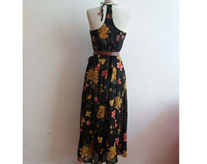 Vintage 90s Floral Slip Dress~ Romantic See~Through Long Dress with an Amazing Back Side~ Minimal Chic ~ Made in Italy