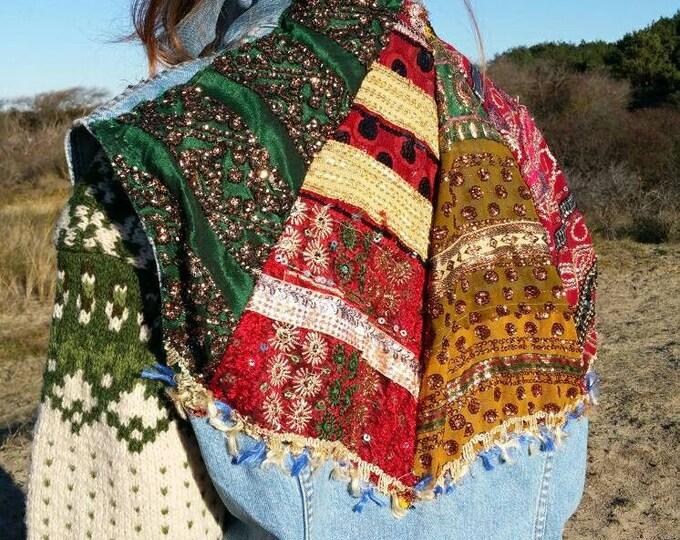 FINAL SALEAfghan inspired Levis Vest ~Vintage Hand decorated Levis denim vest with a Patchwork of Afghan Fabric ~ Embellished Jacket