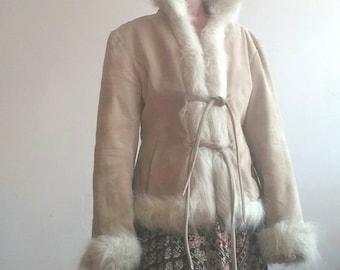 PENNY LANE Mantel Vintage 90er Hat 70er Jahre Fast Berühmten Mantel Vintage  Jacke Ecologic Fell Echtes Wildleder Leder Weiß Fell Boho Stil Hippie