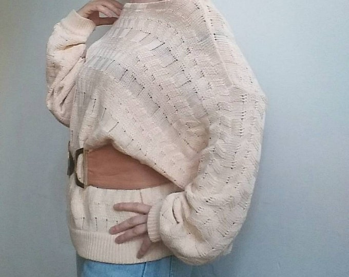 Vintage 80s Pink Nude Sweater in Crochet Cotton with Raglan Sleeves