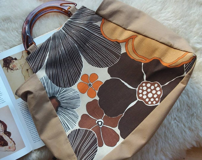 Vintage 60s/70s Floral Bag ~ Hippie Trapeze Bag~ Printed Cotton