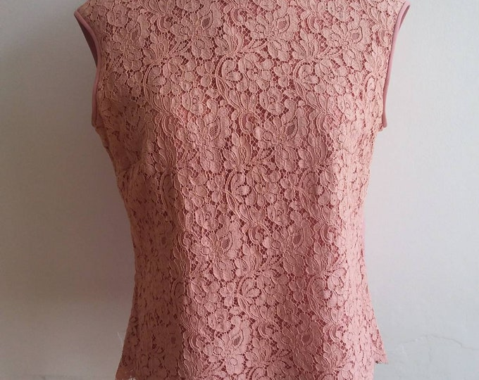 Vintage 60s Lace Top ~ Pink Camisole ~ Classy and Feminine ~ French Style