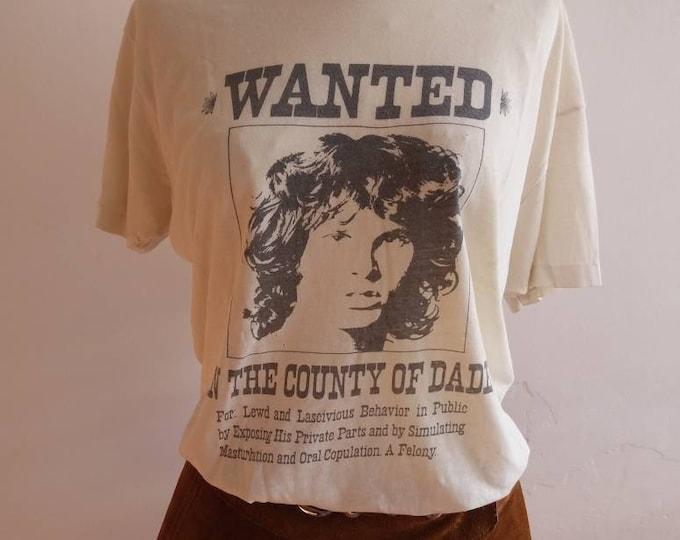 Vintage 70s Original Jim Morrison T-Shirt ~ Rare Collectors Piece ~ White Cotton Shirt ~ Rock Band The Doors T-Shirt