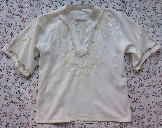 Vintage 70s Cheesecloth Peasant Blouse Cotton Shirt with Handmade Embroidery and Crochet Details ~ Bell Sleeves ~ Hippie Boho Style