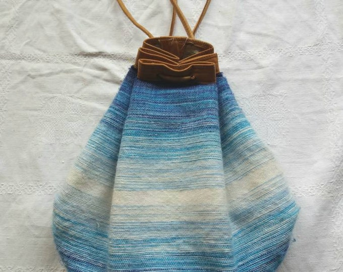 Vintage 70s Moroccon Backpack in Leather and Wool ~ Hippie Boho Ethnic Festival Style