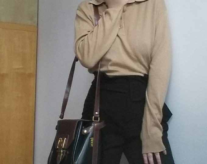 Vintage Cachemire and Silk Sweater ~ Camel Wool Shirt By Peter Hahan