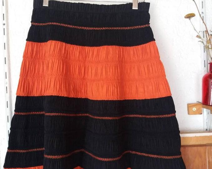 Vintage 60s Hmong Skirt ~ Ethnic Pleated Mini Skirt ~ Handmade Gipsy Skirt ~ Orange and Black ~Bohemian Festival Style