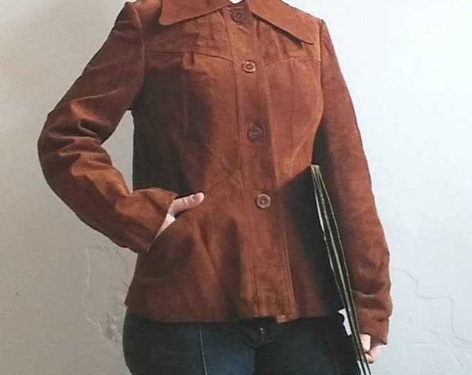 Vintage 60s/70s Suede Leather Jacket ~ Hippie Mod Style