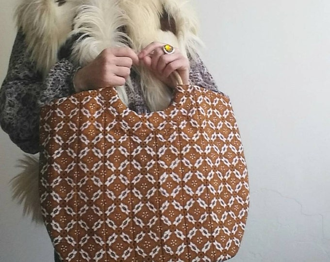 Vintage 60s Batik Bag ~ Cotton and Wood ~Hippie Boho Style ~ Made in Indonesia