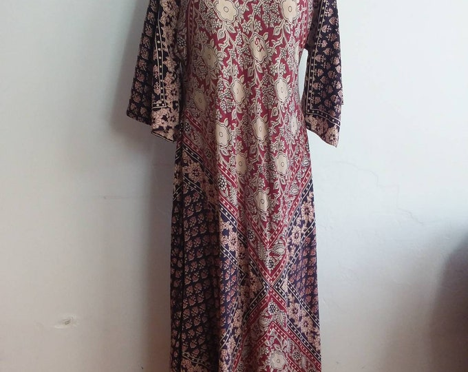 Vintage 70s Indian Cotton Dress ~ Indian Block Printed Maxi Dress ~ Angel Sleeves ~ Gauzy Cotton ~ Hippie Bohemian Style