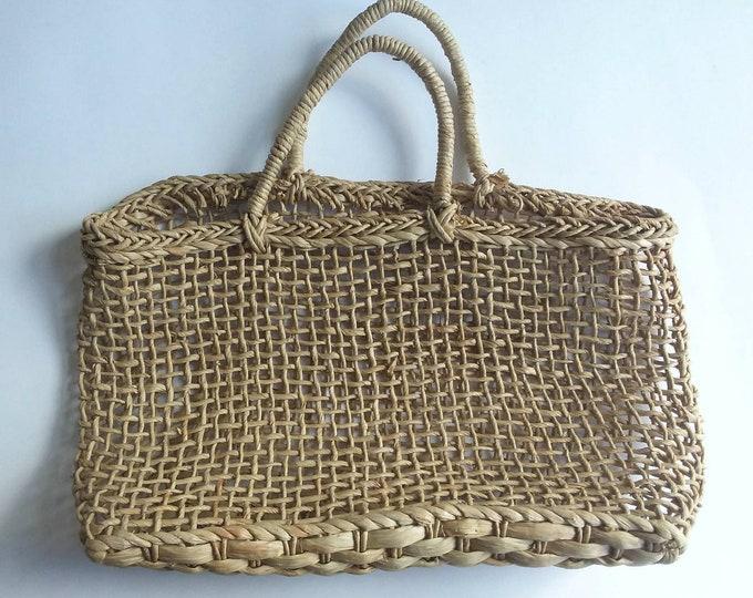 Vintage 60s/70s Straw Net Bag ~ A la Jane Birkin ~ Parisian Bohemian Style