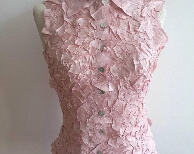 Vintage 70s Pink Wrinkled Silky Top ~ Made in Paris