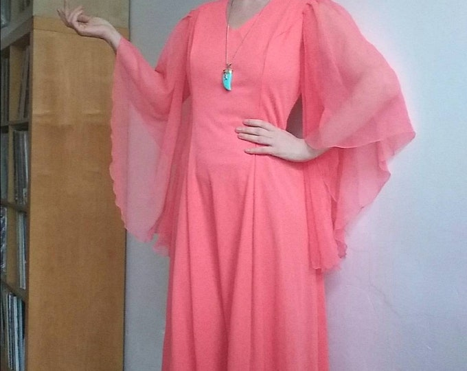 Vintage 70s Coral Bohemian Dress ~ Dreamy Maxi Dress with Ethereal Sheer Angel Sleeves ~ Bridal Dress