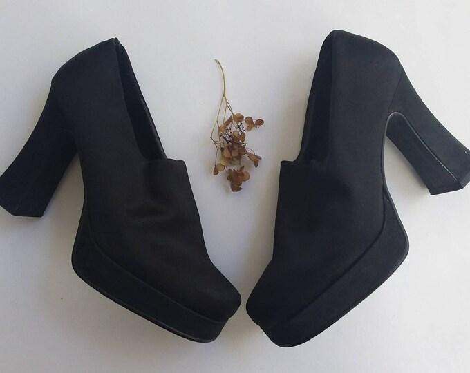 Vintage 70s Platform Shoes ~ Groupie Disco Black Satin Shoes ~ Size 38