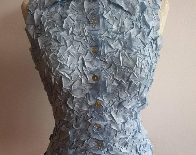 Vintage 70s Blue Wrinkled Silky Top ~ Made in Paris