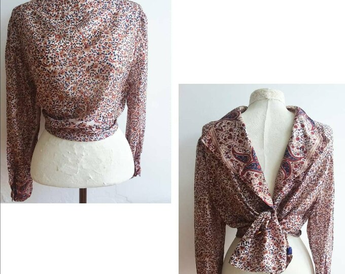 Vintage 70s Silk Blouse ~ Liberty Indian Print ~ Buttoned up Shirt ~ Handmade in Italy ~ Bohemian Style