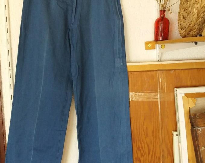 FINAL SALE Vintage 70s Denim Pants ~ Dark Blue Wide Leg Trousers in soft Denim ~ Flared Jeans ~ Hippie Groovy Style