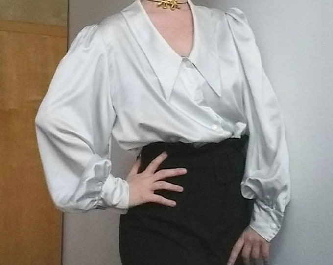 Vintage Silk Satin Blouse in White Silver ~ Balloon Sleeves ~ Handmade in Italy