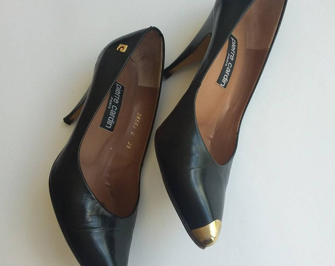 Pierre Cardin ~ Vintage 80s Black Leather Shoes with Golden Details ~ Made in Paris