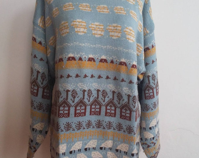 Vintage Benetton Wool Sweater ~ Made in Italy ~ Pastel Colours