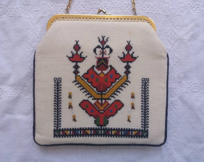 Vintage 50s White Embroidered Purse ~ Russian Tapestry Bag ~ Bohemian Folk Style