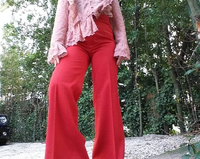 Vintage 70s Palazzo Pants ~ Red Trousers Wide Leg Made in Italy ~ Mint Condition from Dead Stock