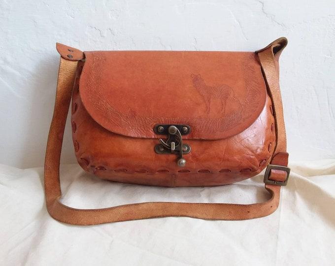 Vintage 70s Sachel Bag ~ Handtooled Leather ~ Artisian Piece