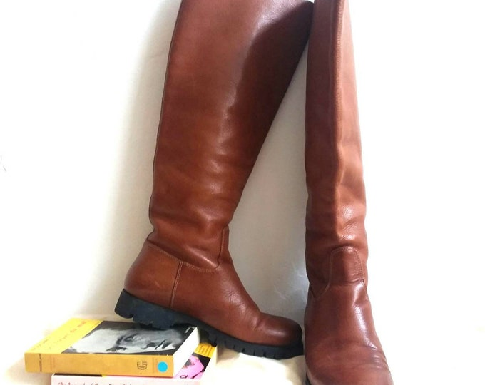 Vintage 70s Riding Boots in Genuine Leather ~ Made in Florence Italy