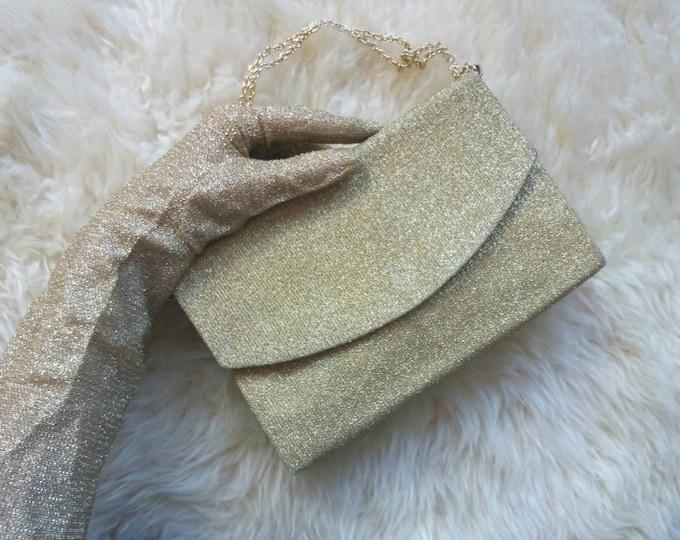 Vintage 70s Golden Lurex Gloves and Pochette Bag ~ Night clutch and gloves ~ Glam Sparkling Style