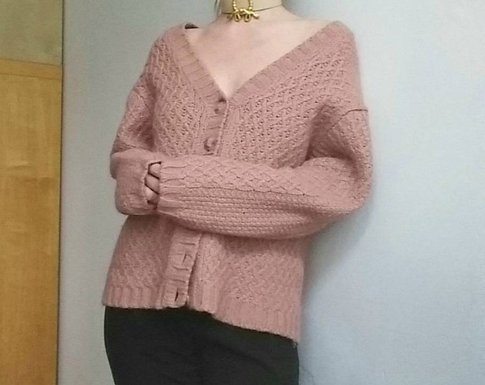 Pink Chunky Alpaca and Merinos Wool Cardigan or Buttoned up Sweater ~ Nordic Style ~ Made in Belgium