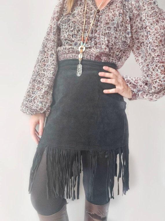 Vintage 80s Black Suede Leather Skirt with Fringes