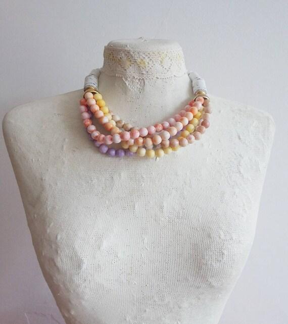 Vintage 60s/70s Pastel Collar Necklace