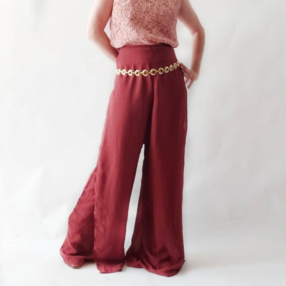 Vintage 70s Palazzo Chiffon Pants in Terracotta ~ Handmade