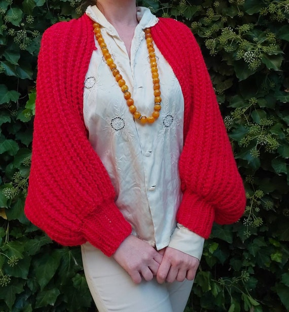 Vintage 70s Wool Cape with Balloon Sleeves