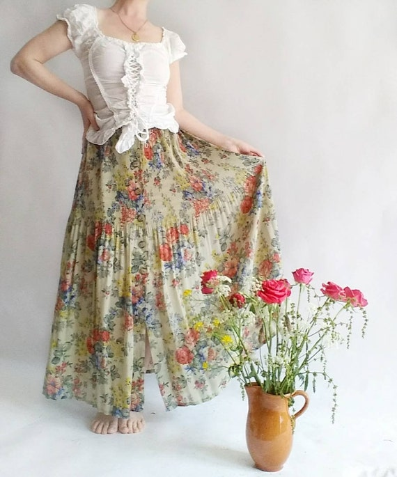 Vintage 80s/90s Floral Button up Skirt