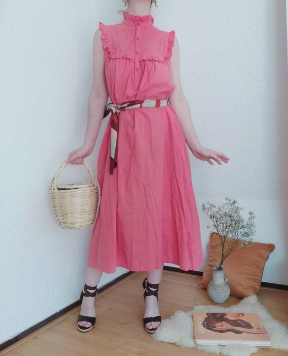 Vintage 70s Indian Cotton Dress with Eyelet Fabric and Ruffles ~ Hippie Style