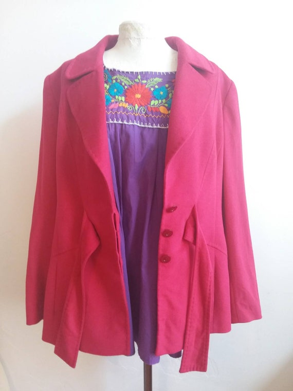 Vintage 80s Blazer by Escada ~ Pink Jacket in New Wool and Lapin ~ Made in Italy