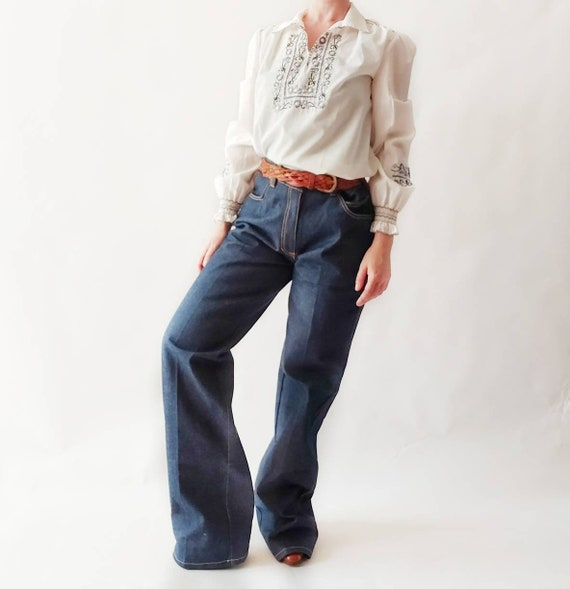 Vintage 70s Blue Jeans ~ Straight Leg Denim Trousers~ New from Deadstock