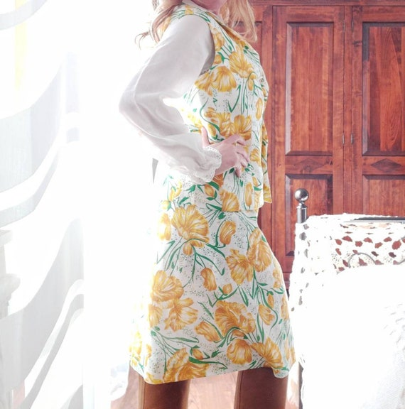 Vintage 70s Cotton Suit ~ Skirt and Vest ~ Made in Italy ~ New from Dead Stock