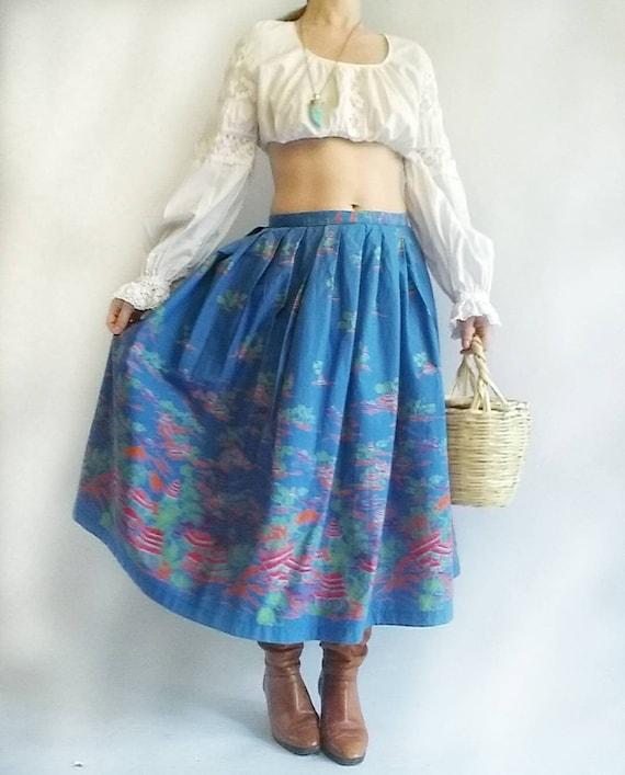 Vintage 50s Skirt ~ Asiatic Scenes ~ Handmade in Cotton