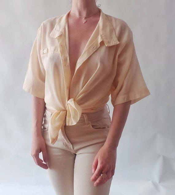 Vintage 90s Peachy Shirt in Gauzy Cotton