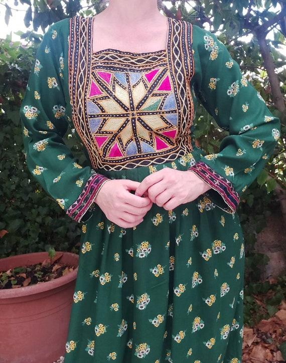 Vintage 70s Embroidered Afghan Maxi Dress