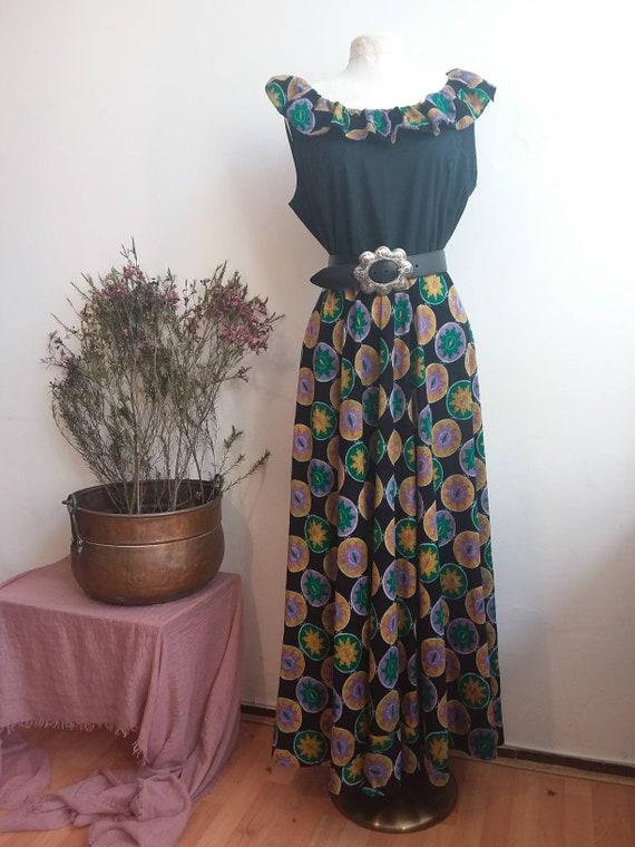 Vintage 70s Bohemian Maxi Dress with Ruffles ~ Frida Kahlo Folk Style