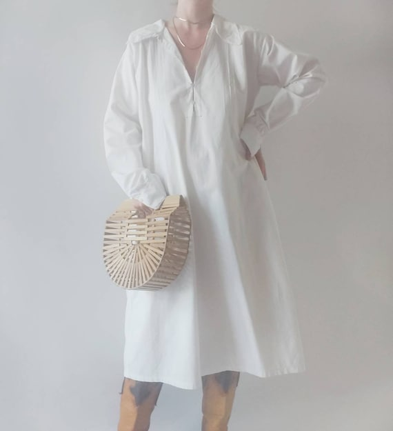 Maria ~ Antique White Cotton Dress