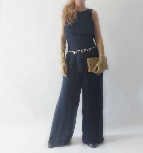 Vintage 90s does 70s Jumpsuit ~ Made in Usa